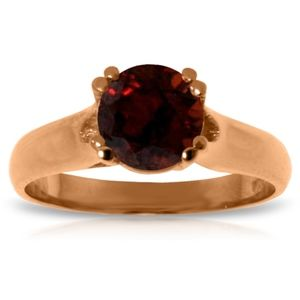 SOLID GOLD SOLITAIRE RING WITH NATURAL GARNET